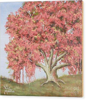 Deco Tree Wood Print by Vic  Mastis
