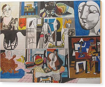 Deconstructing Picasso - Women And Musicians Wood Print by Esther Newman-Cohen
