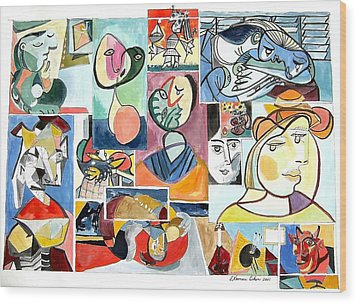 Deconstructing Picasso - Women Sad And Betrayed Wood Print