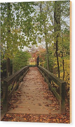 Decorate With Leaves - Holmdel Park Wood Print by Angie Tirado
