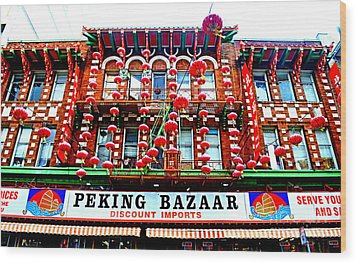 Decorated Building In Chinatown In San Francisco Wood Print by Jim Fitzpatrick