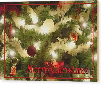 Decorated Tree Christmas Card Wood Print by E B Schmidt