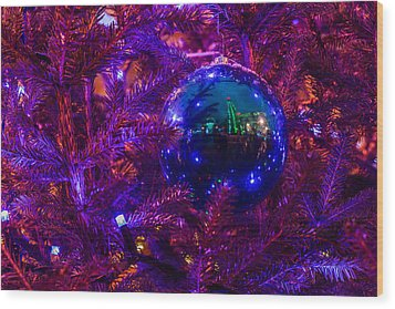 Decoration Ball On A Christmas Tree Illuminated With Red Light - Featured 3 Wood Print by Alexander Senin