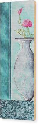 Decorative Floral Vase Painting Shabby Chic Style Relax And Unwind I By Madart Studios Wood Print by Megan Duncanson