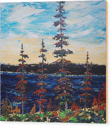 Decorative Pines Lakeside - Early Dusk Wood Print