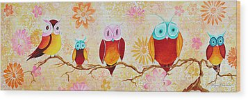 Decorative Whimsical Owl Owls Chi Omega Painting By Megan Duncanson Wood Print by Megan Duncanson