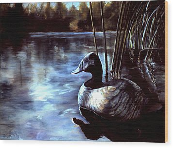 Decoy At Tealwood Wood Print by Pattie Wall