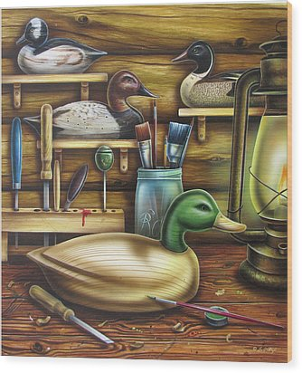 Decoy Carving Table Wood Print by JQ Licensing