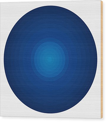 Deep Blue Circles Wood Print by Frank Tschakert