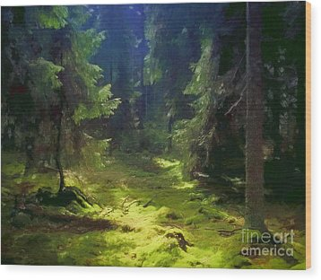 Deep Forest Wood Print by Lutz Baar