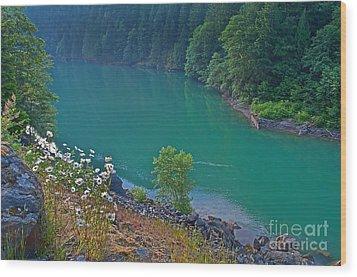 Deep Green River Near Ross Lake Washington In Forest Wood Print by Valerie Garner