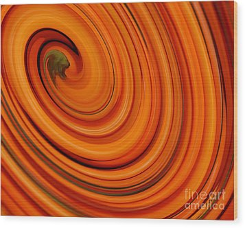Deep Orange Abstract Wood Print by Andrea Auletta