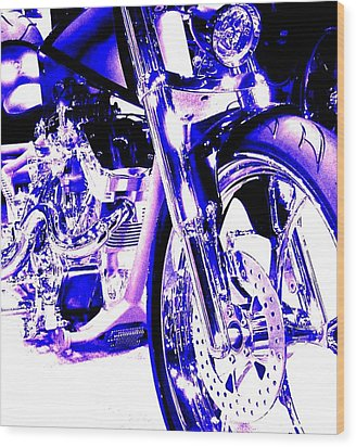 Deep Purple Art On Two Wheels Wood Print