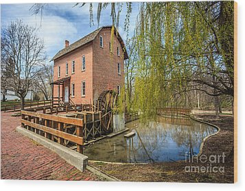 Deep River County Park Grist Mill Wood Print by Paul Velgos