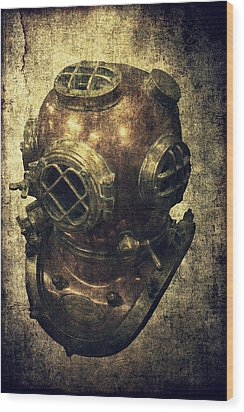 Deep Sea Diving Helmet Wood Print by Daniel Hagerman