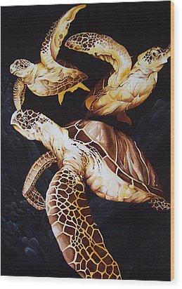 Deep Swim Wood Print by William Love