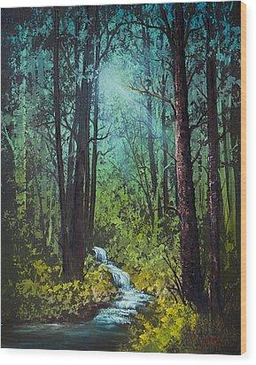 Deep Woods Stream Wood Print by C Steele