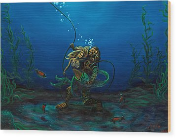 Deepsea Love Wood Print by Andres  Soto