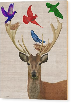 Deer And Birds Nests Wood Print by Kelly McLaughlan