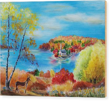 Deer And Country Church Autumn Scene Wood Print by Melanie Palmer