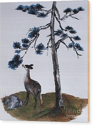 Deer And Pine Wood Print by Sibby S