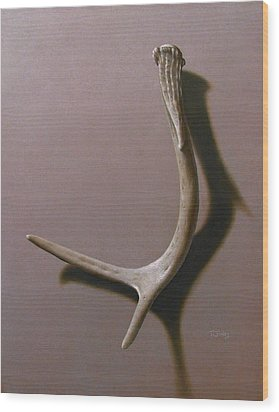 Deer Antler Wood Print by Timothy Jones
