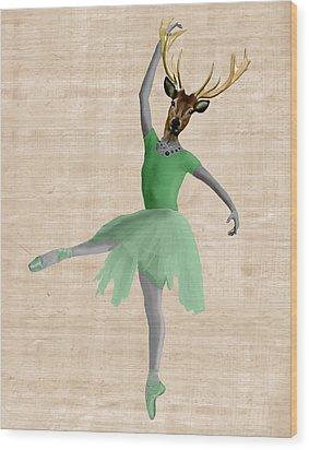 Deer Ballet Dancer Green Wood Print by Kelly McLaughlan