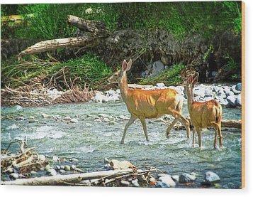 Deer Crossing Wood Print by Cheryl Cencich