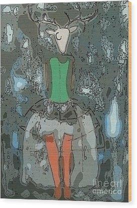 Deer Girl Wood Print by Amy Sorrell