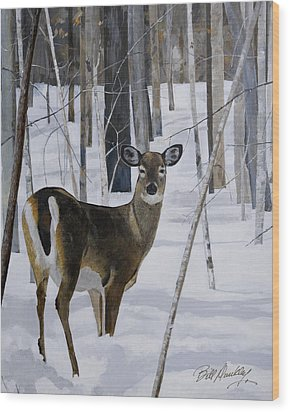 Deer In The Snow Wood Print by Bill Dunkley