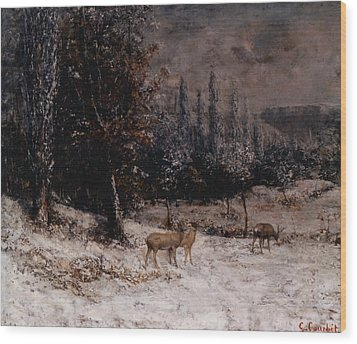 Deer In The Snow Wood Print by Gustave  Courbet