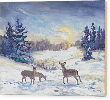 Deer In Winter Landscape  Wood Print by Peggy Wilson