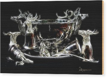 Deer Punch Bowl Set Wood Print by EricaMaxine  Price