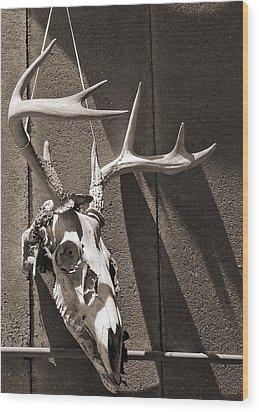 Deer Skull In Sepia Wood Print by Brooke T Ryan
