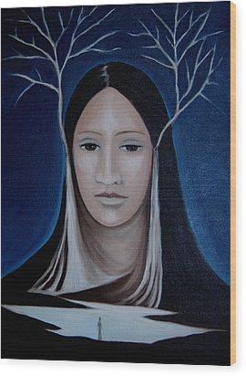Wood Print featuring the painting Deer Woman  by Tone Aanderaa