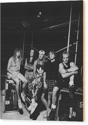 Def Leppard - Adrenalize Tour B&w 1992 Wood Print by Epic Rights