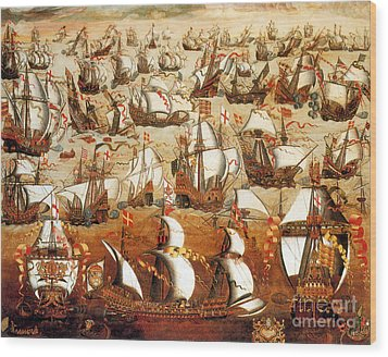 Defeat Of The Spanish Armada 1588 Wood Print by Photo Researchers
