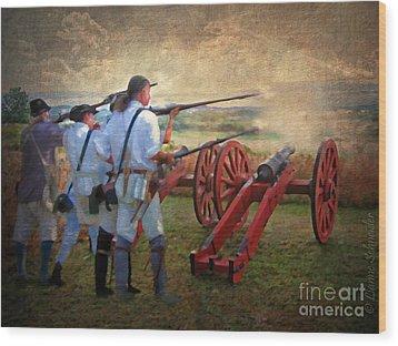 Defending Bemis Heights 1777 Wood Print by Lianne Schneider