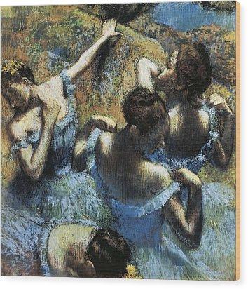Degas, Edgar 1834-1917. Blue Dancers Wood Print by Everett