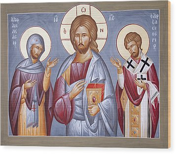 Deisis Jesus Christ St Anastasios And St Eleftherios Wood Print by Julia Bridget Hayes