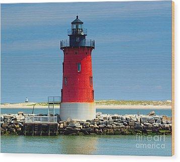 Delaware Breakwater Lighthouse Wood Print by Nick Zelinsky