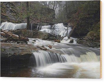 Delaware Falls Under April Morning Fog Wood Print