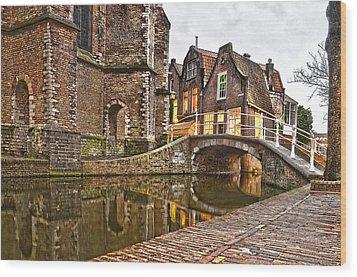 Delft Behind The Church Wood Print