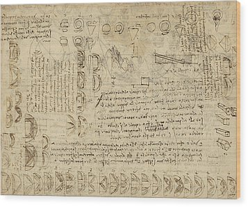 Delian Problem Or Doubling Cube Equivalence Among Various Parts Of Circle From Atlantic Codex  Wood Print by Leonardo Da Vinci