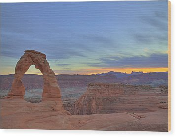 Wood Print featuring the photograph Delicate Arch At Sunset by Alan Vance Ley