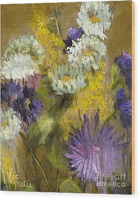 Delicate Aroma I -unframed-with Gold Leaf By Vic Mastis Wood Print by Vic  Mastis