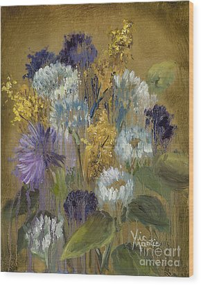 Delicate Aroma II -unfarmed-with Gold Leaf By Vic Mastis Wood Print by Vic  Mastis