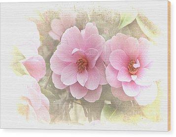 Delicate Camellias Wood Print by Michelle Orai