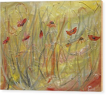 Wood Print featuring the painting Delicate Poppies by Dorothy Maier