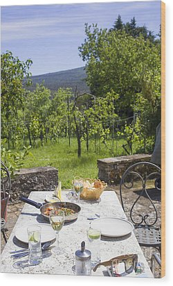 Delicious Italian Lunch In Garden Wood Print by Patricia Hofmeester